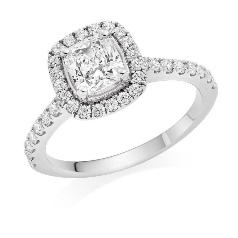 Platinum Diamond Cushion Cut Halo Ring