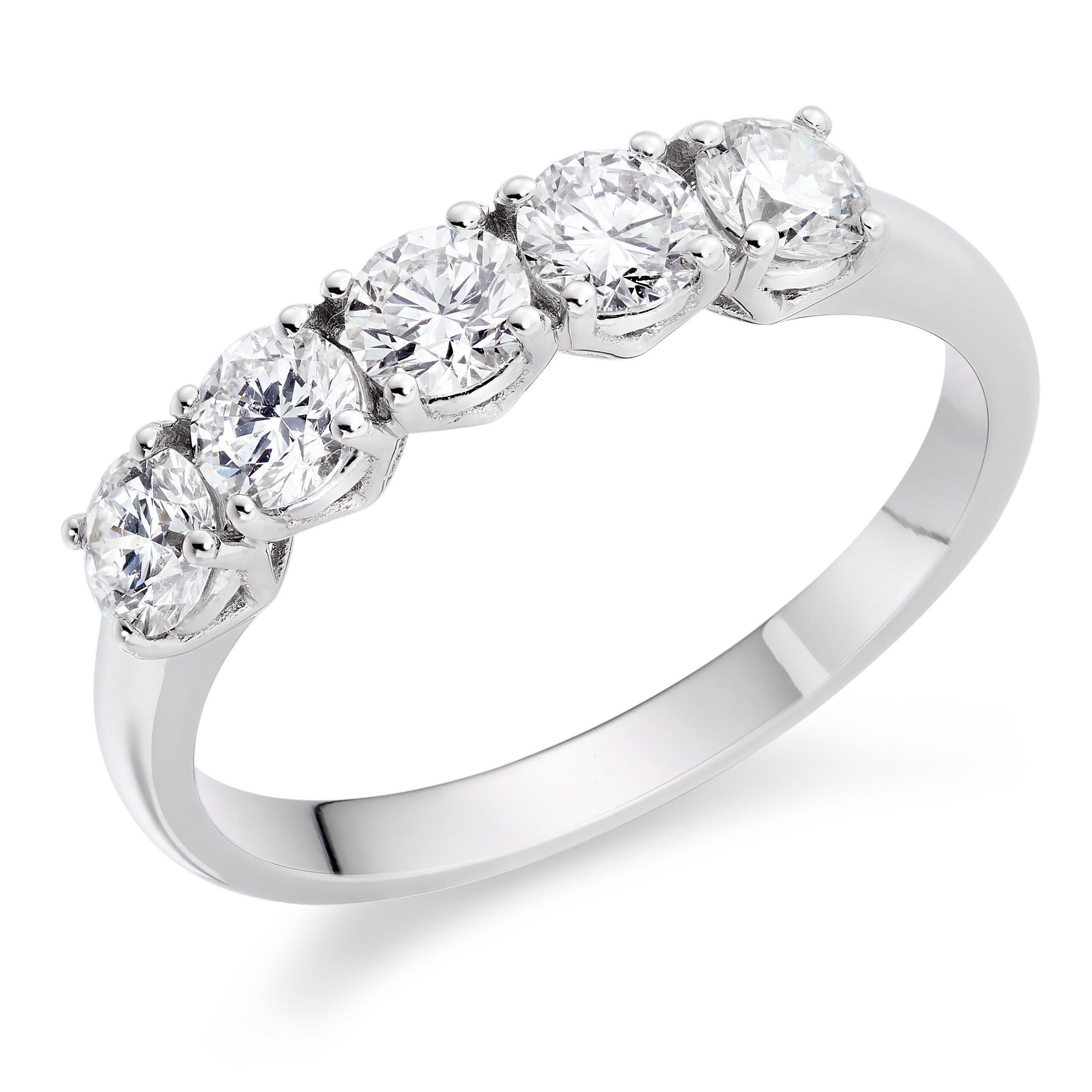 Platinum Diamond Five Stone Eternity Ring