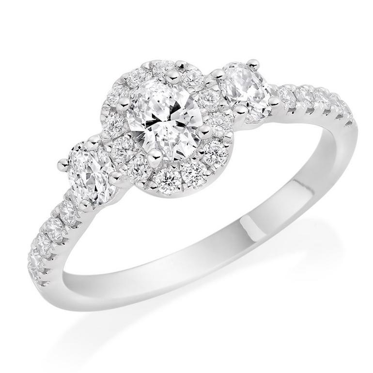 Platinum Diamond Oval Cut Halo Three Stone Ring