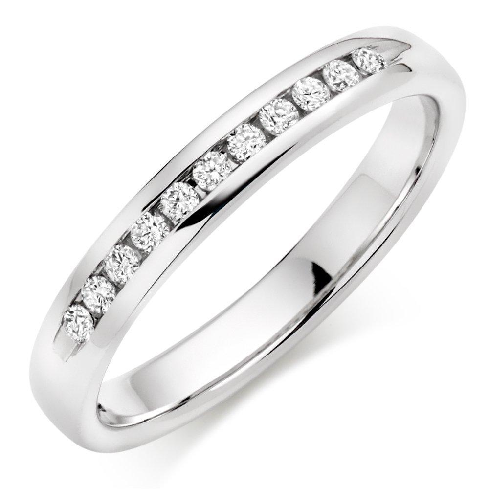 9ct White Gold Diamond Half Eternity Ring