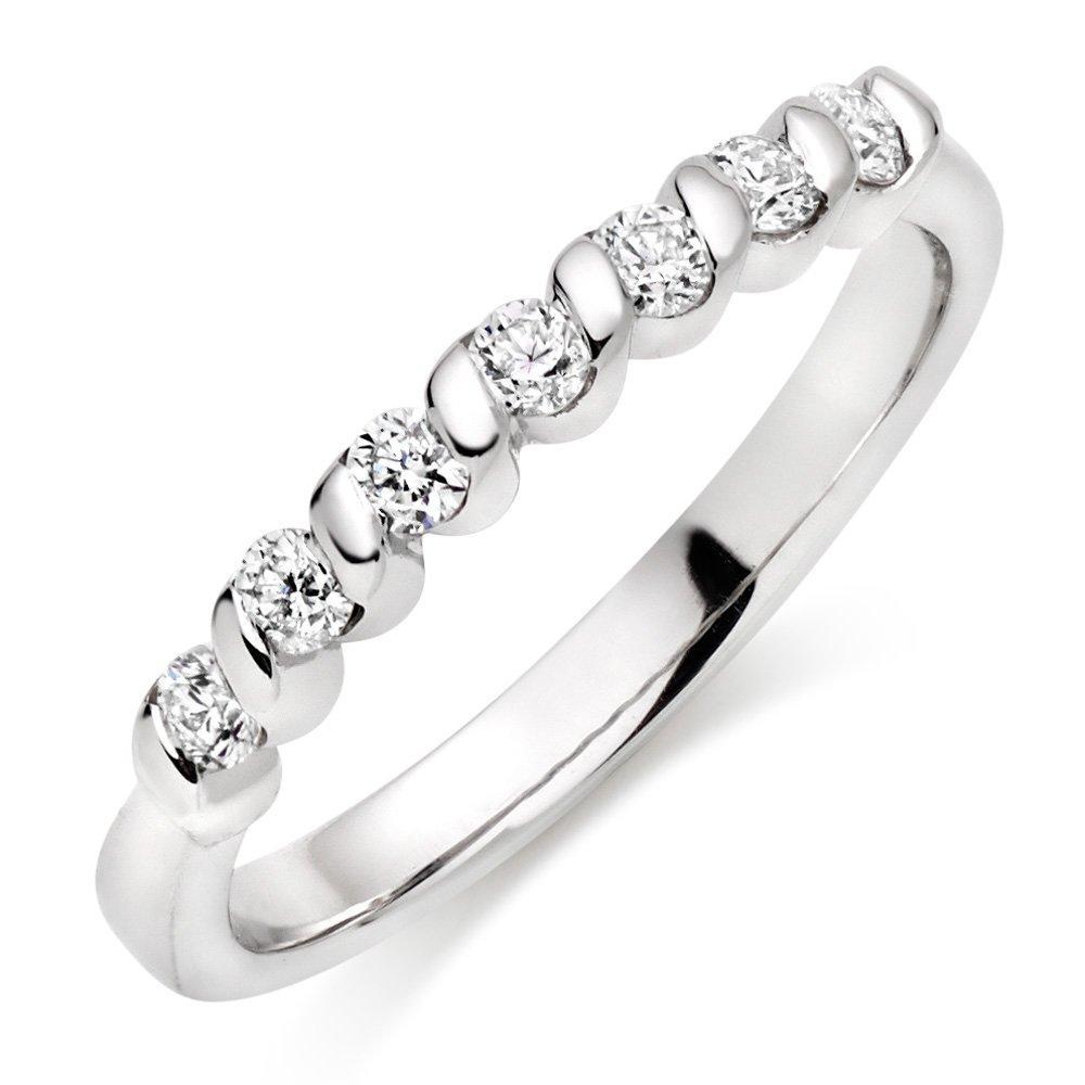 9ct White Gold Diamond Half Eternity Twist Ring