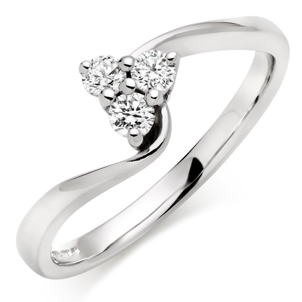 9ct White Gold Diamond Three Stone Ring