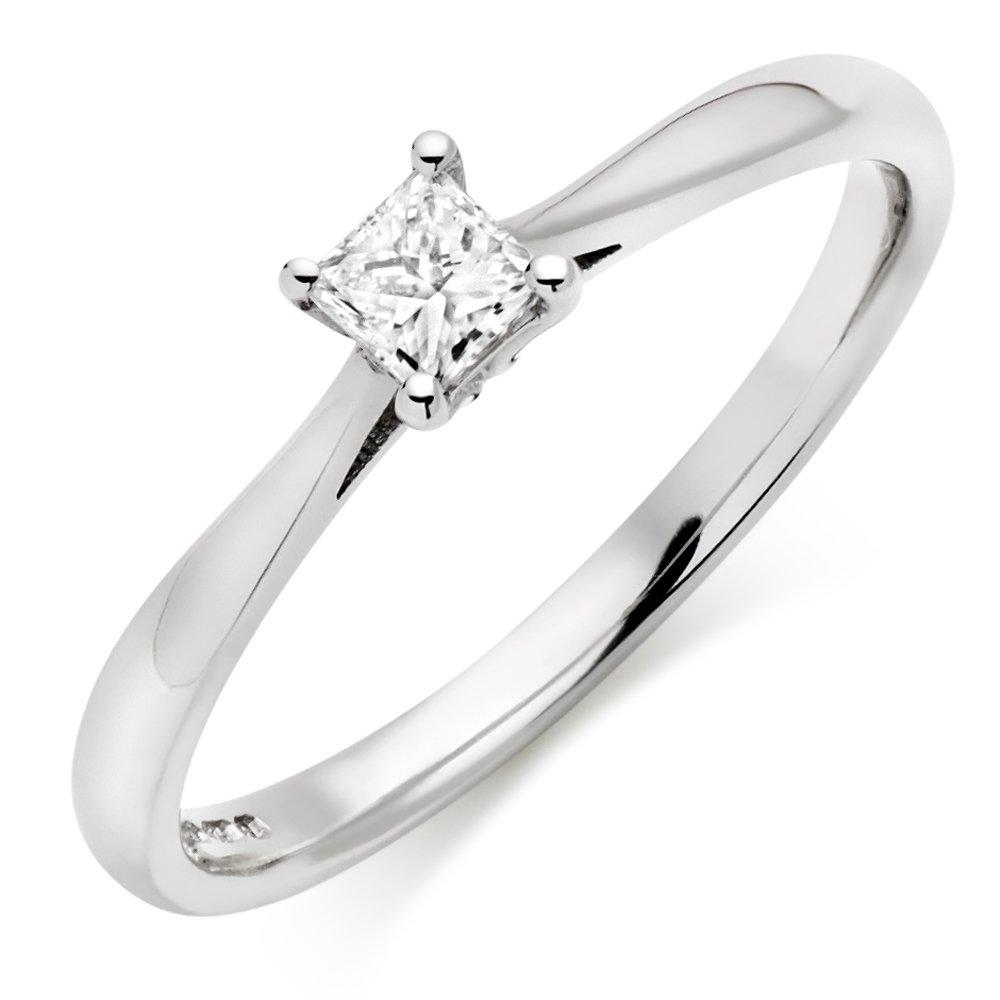 9ct White Gold Diamond Princess Cut Solitaire Ring
