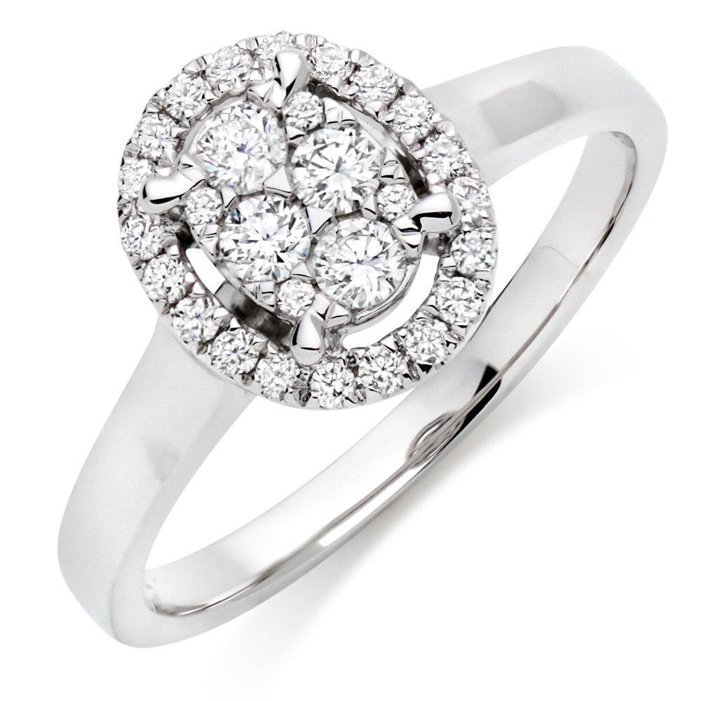 9ct White Gold Diamond Oval Cluster Halo Ring