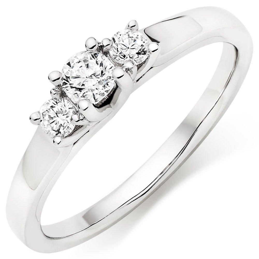 9ct White Gold Three Stone Diamond Ring