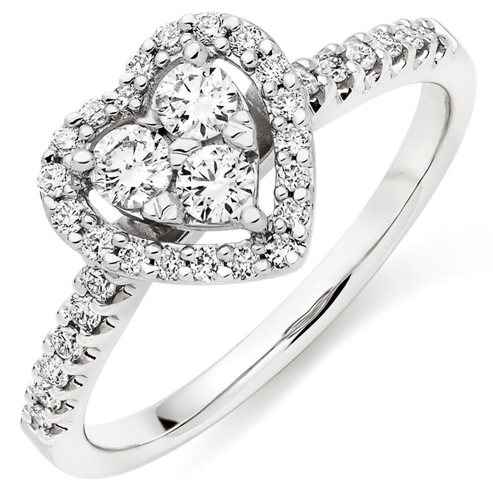 9ct White Gold Diamond Heart Cluster Halo Ring