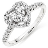 9ct White Gold Diamond Heart Ring
