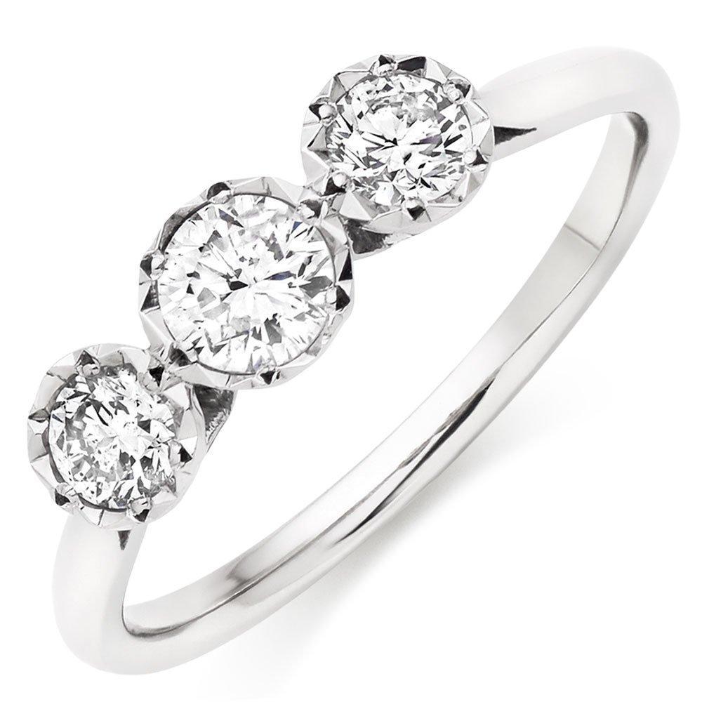 9ct White Gold Diamond Three Stone Ring