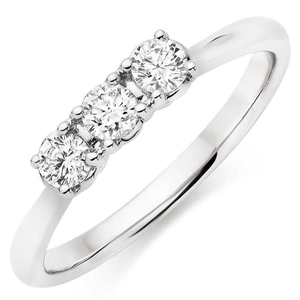 9ct White Gold Three Stone Diamond Ring