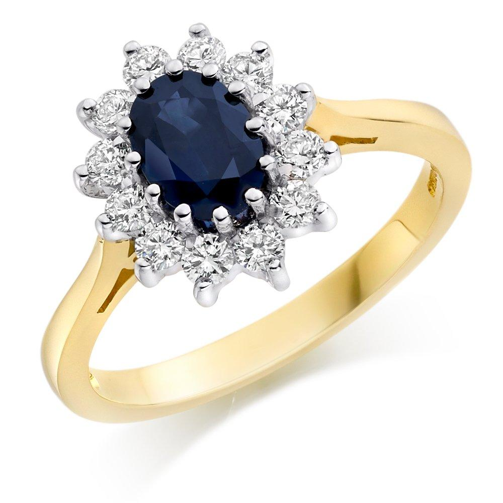 18ct Gold Diamond and Sapphire Cluster Ring