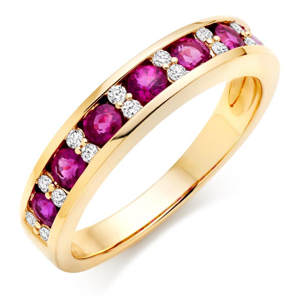 18ct Gold Diamond Ruby Half Eternity Ring