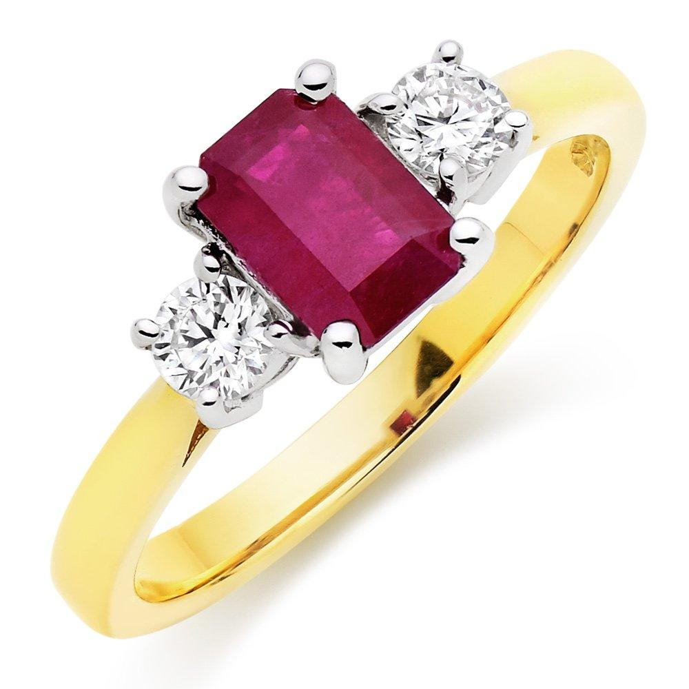 18ct Gold Diamond and Ruby Three Stone Ring