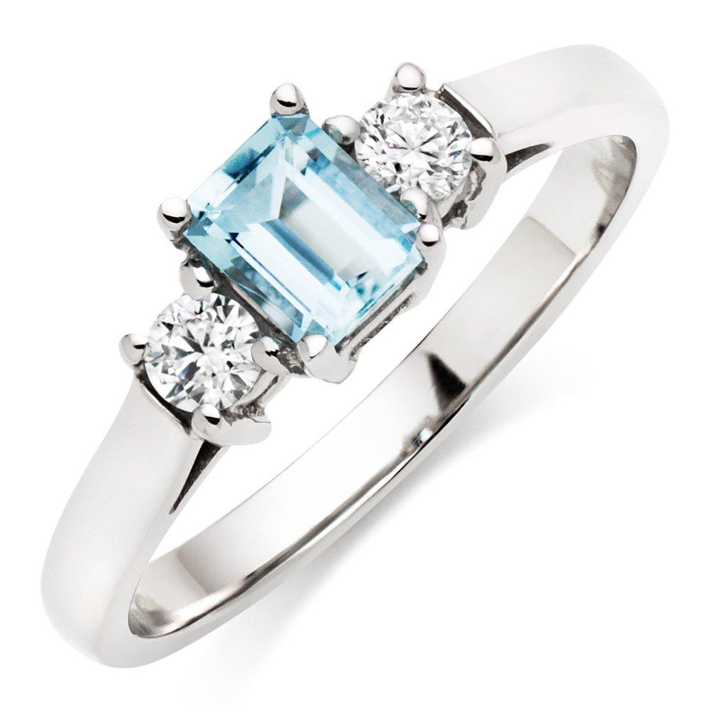 18ct White Gold Diamond and Aquamarine Ring