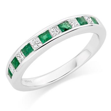18ct White Gold Diamond and Emerald Half Eternity Ring