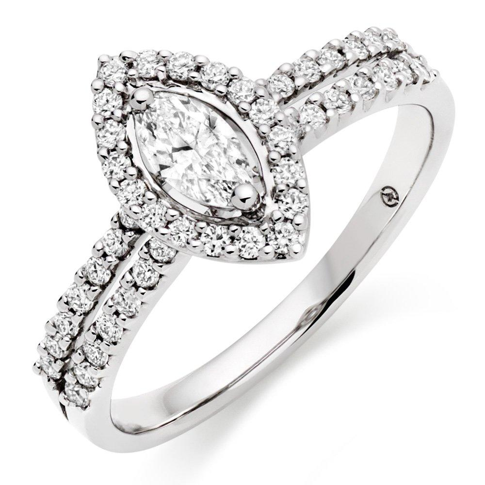 18ct White Gold Marquise Diamond Halo Ring