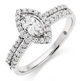 18ct White Gold Diamond Marquise Cut Halo Ring