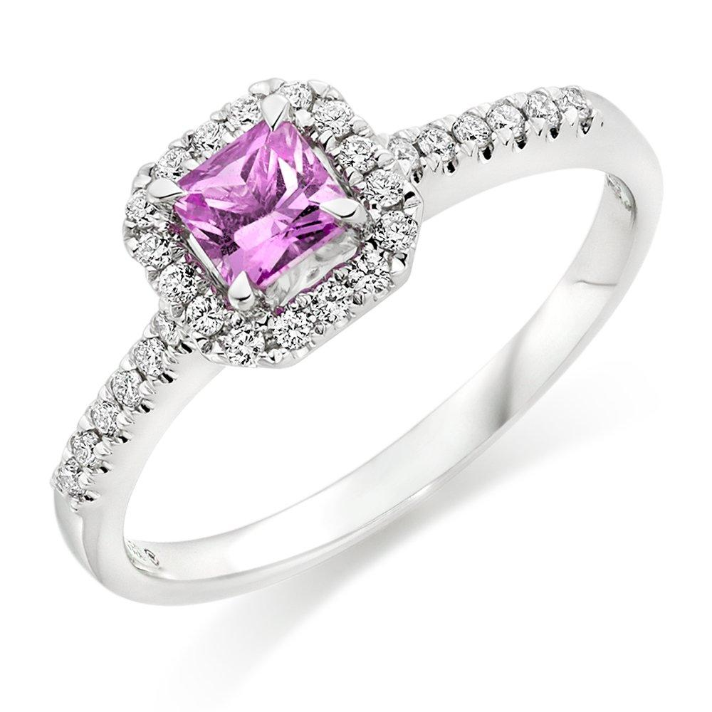 18ct White Gold Diamond Pink Sapphire Halo Ring