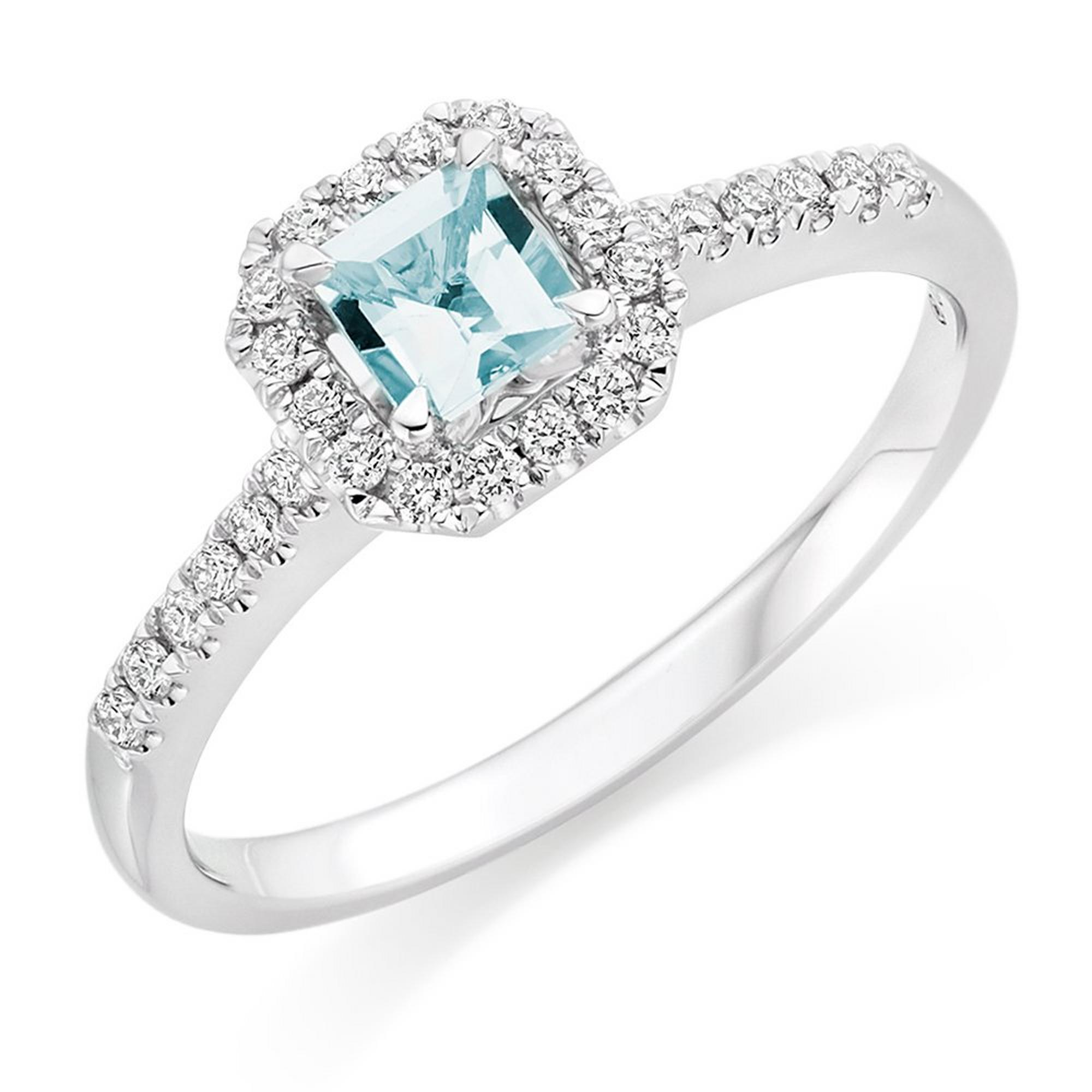 18ct White Gold Diamond Aquamarine Halo Ring