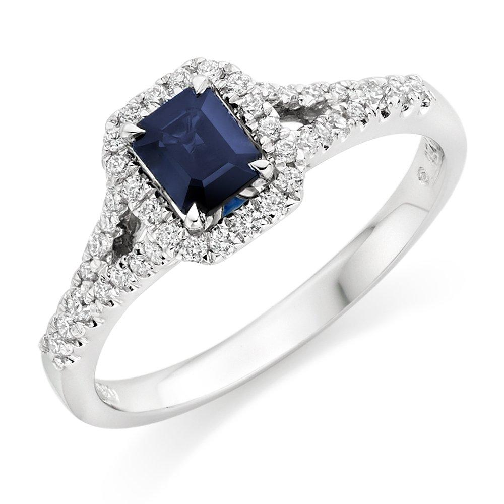 18ct White Gold Diamond and Sapphire Cluster Ring