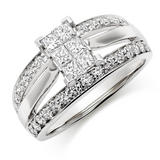 18ct White Gold Diamond Princess Cut Cluster Ring