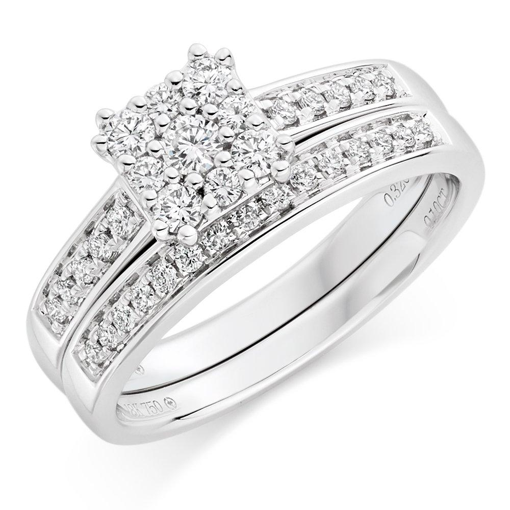 18ct White Gold Diamond Engagement and Wedding Ring Set