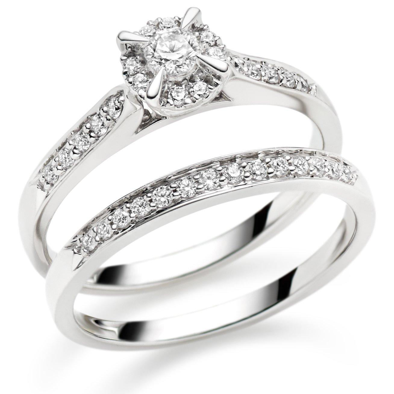18ct White Gold Diamond Ring Set