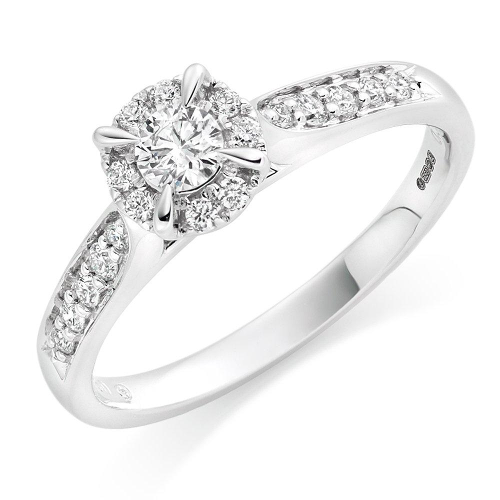 18ct White Gold Diamond Halo Ring