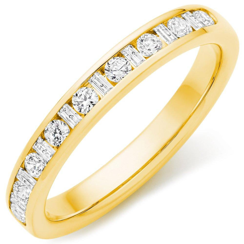 18ct Gold Round Brilliant and Baguette Cut 0.38ct Diamond Channel Set Ring