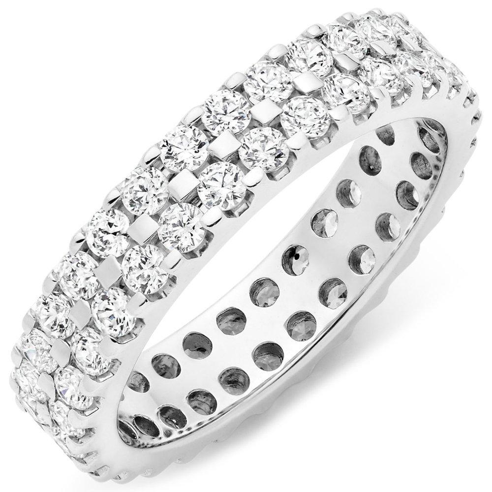 18ct White Gold Round Brilliant 1.50ct Diamond Two Row Ring