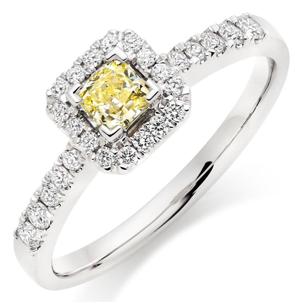 18ct White Gold Yellow Diamond Halo Ring