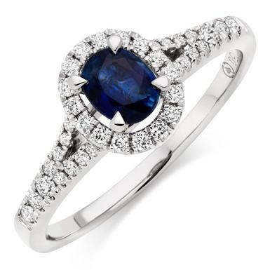 18ct White Gold Diamond and Sapphire Halo Ring