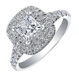Maple Leaf Diamonds 18ct White Gold Diamond Halo Engagement Ring