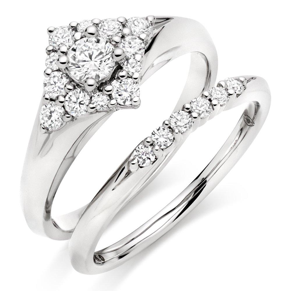 18ct White Gold Diamond Cluster Ring Bridal Set