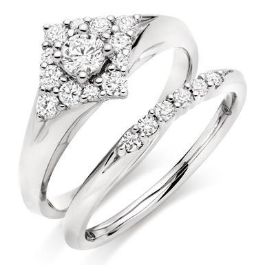 18ct White Gold Diamond Ring Bridal Set