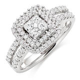18ct White Gold Diamond Cluster Double Halo Ring