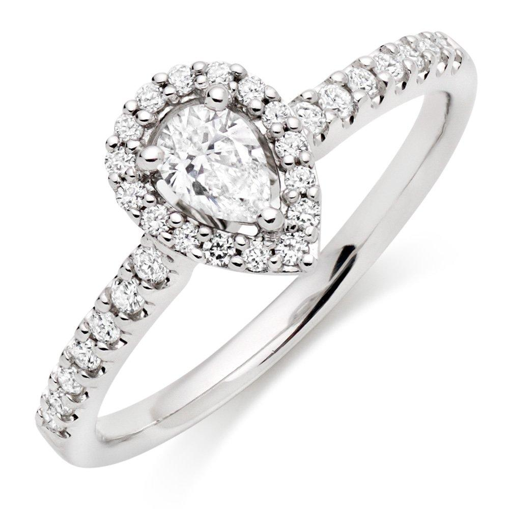18ct White Gold Diamond Pear Shaped Halo Ring