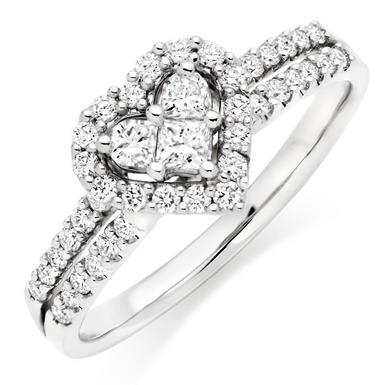 18ct White Gold Heart Shaped Diamond Ring