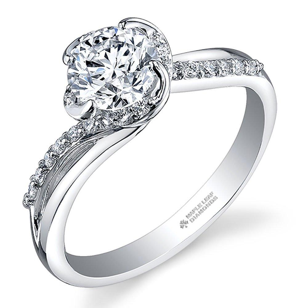 Maple Leaf Diamonds Wind's Embrace 18ct White Gold Diamond Solitaire Engagement Ring