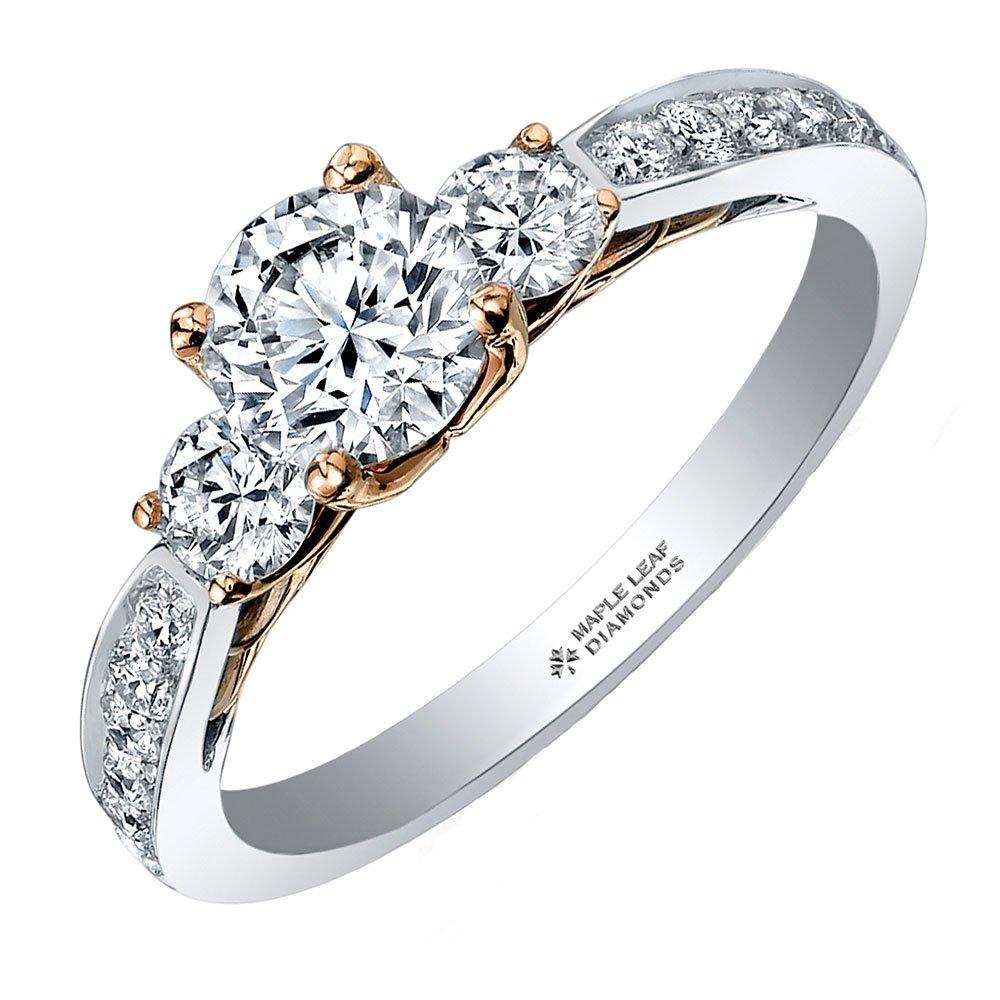 Maple Leaf Diamonds 18ct Two-Colour Gold Diamond Three Stone Engagement Ring