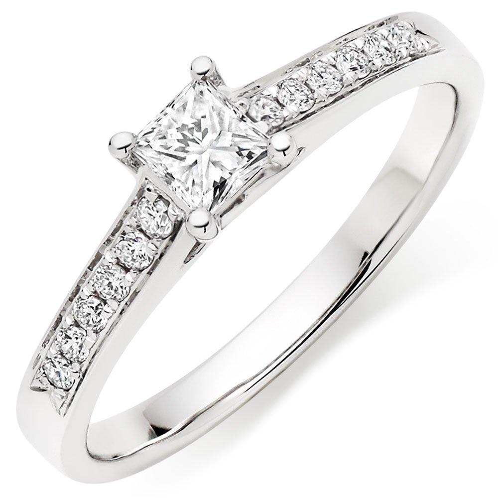 18ct White Gold Diamond Princess Cut Solitaire Ring