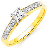 18ct Gold Diamond Princess Cut Solitaire Ring
