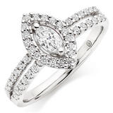 Platinum Diamond Marquise Cut Halo Ring