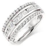 Platinum Diamond Half Eternity Triple Row Ring