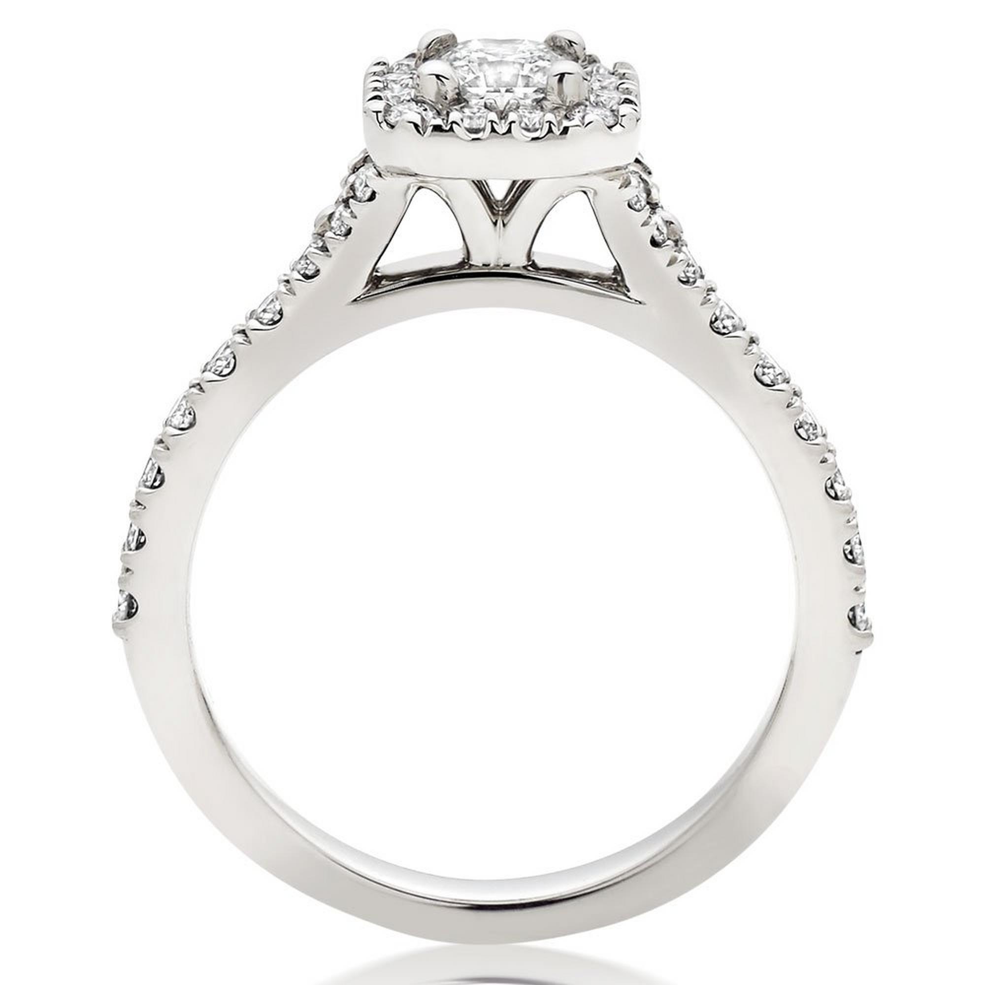 Hearts On Fire Transcend Platinum Diamond Princess Cut Halo Ring