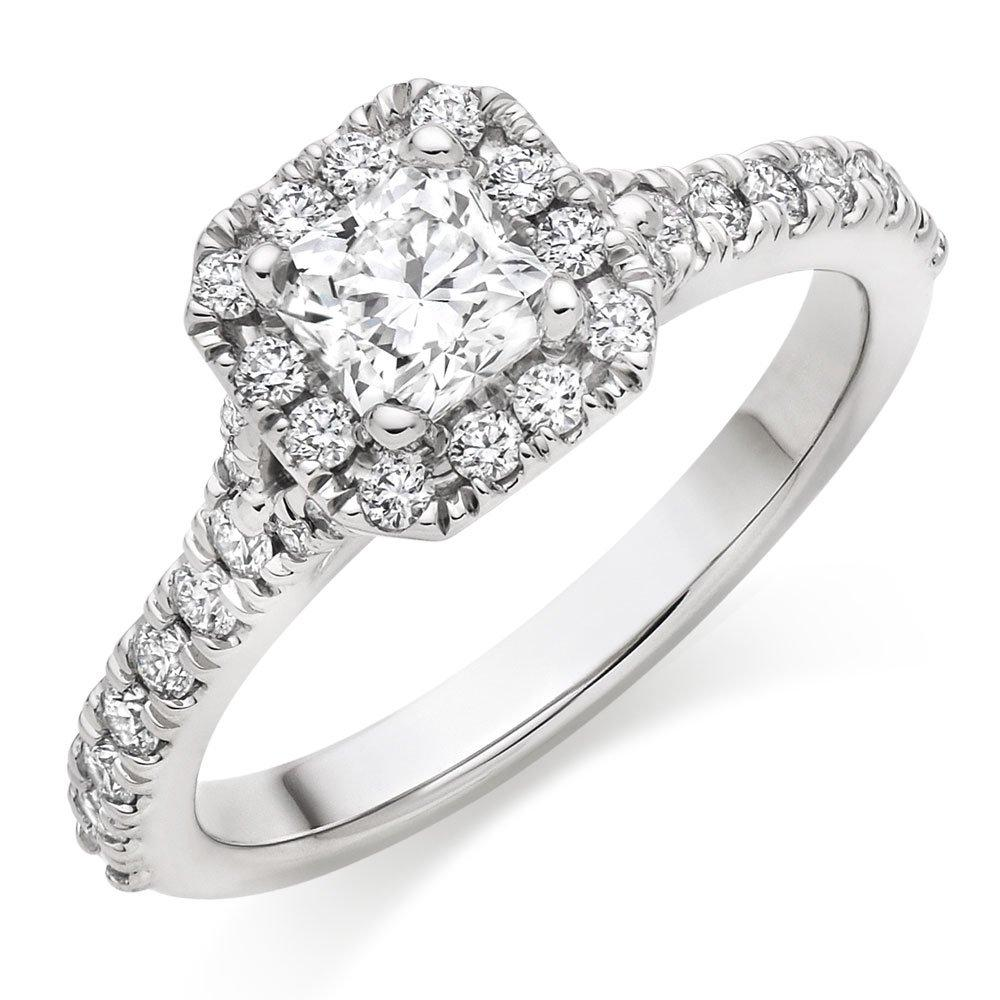 Hearts On Fire Transcend Platinum Diamond Princess Cut Halo Ring