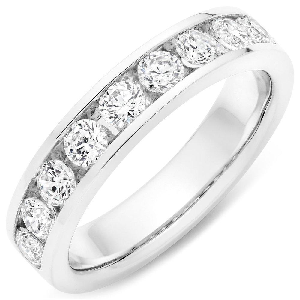 Platinum Round Brilliant 1.00ct Diamond Channel Set Ring