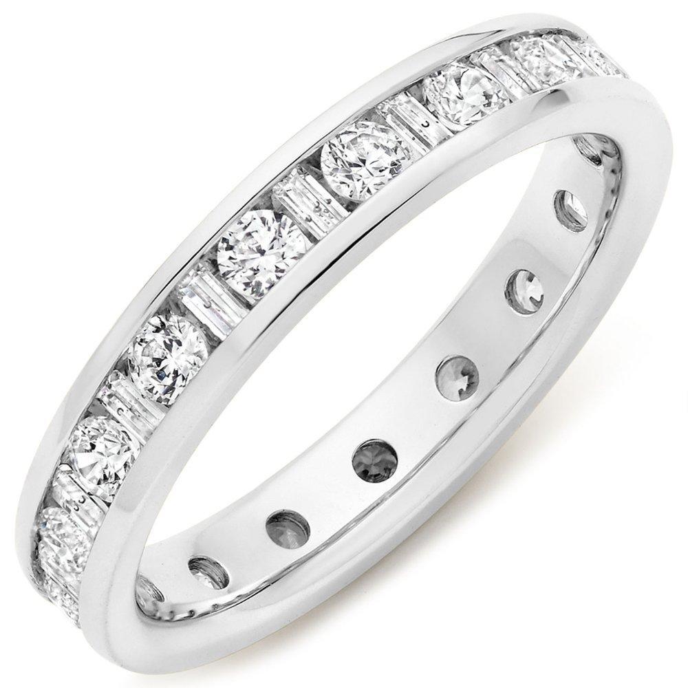 Platinum Round Brilliant and Baguette Cut 1.00ct Diamond Channel Set Ring