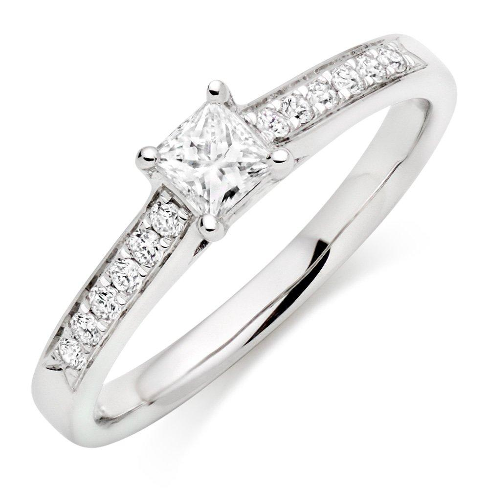 Platinum Diamond Princess Cut Solitaire Ring