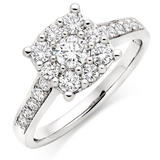 Platinum Diamond Cluster Ring