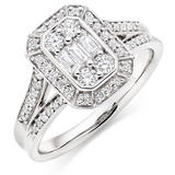 Platinum Diamond Cluster Halo Ring